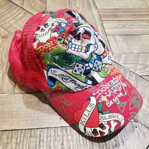 Ed Hardy Red Baseball CAP with Dice Ace of Spades